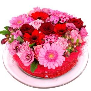Roze rode bloementaart bestellen bestellen of bezorgen