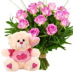 Roze rozen en knuffelbeer bezorgen bestellen of bezorgen