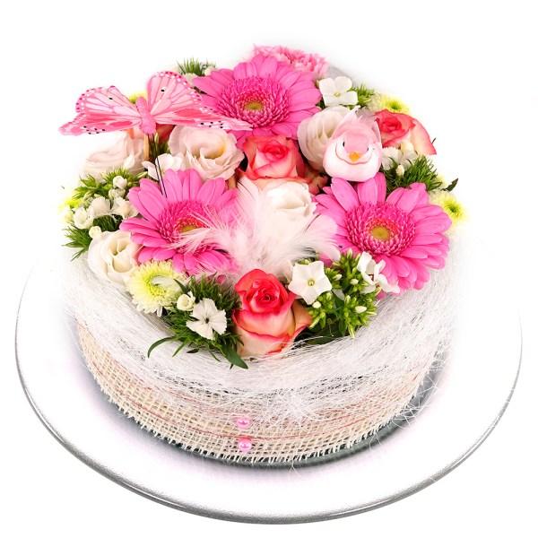 Roze wit pastel bloementaart online kopen bestellen of bezorgen