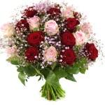 Rozen boeket rode en roze rozen bestellen of bezorgen