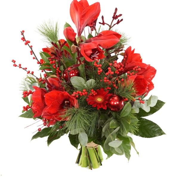 Uitbundig rood Amaryllis kerstboeket bestellen of bezorgen