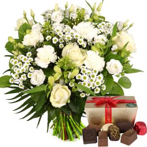 Witte bloemen met Leonidas bonbons bestellen of bezorgen