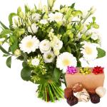 Witte bloemen met bonbons bestellen of bezorgen
