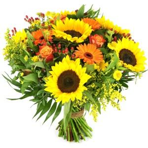 Zonnebloemen geel oranje bestellen of bezorgen