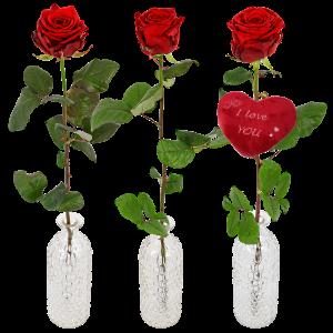 1 of 2 of 3 rode Valentijn rozen in een rozenvaas bestellen of bezorgen