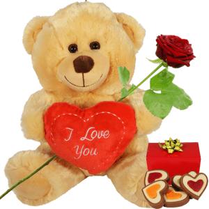 Bruine Valentijn knuffelbeer en hartjes chocolade bestellen of bezorgen