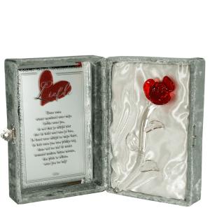 Glazen rode roos in luxe doos bestellen of bezorgen