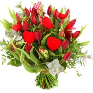 Rode tulpen met hartjes bezorgen bestellen of bezorgen
