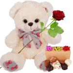 Witte classic knuffelbeer en 300 gram bonbons bestellen of bezorgen