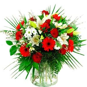 Bloemen buitenland rood - wit bestellen of bezorgen online