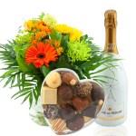 Bloementoefje met heerlijke bubbels en chocolade bestellen of bezorgen online