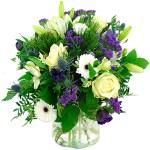 Boeket blauw/paars - wit bestellen of bezorgen online