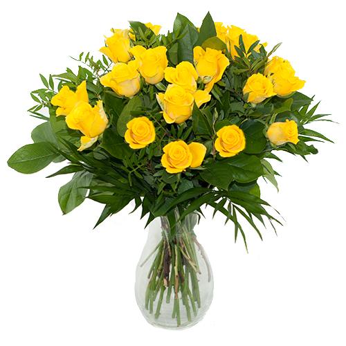 Boeket gele rozen met bladmateriaal bestellen of bezorgen online