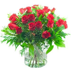 Boeket rode rozen met bladmateriaal bestellen of bezorgen online
