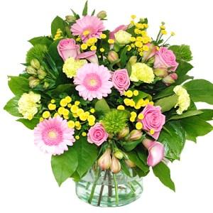 Boeket roze geel bestellen of bezorgen online