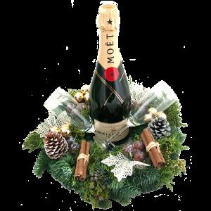 Fles champagne Moët met gedecoreerde kerstkrans en champagne glazen bestellen of bezorgen online