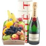 Fruitkistje met een fles Moët & Chandon champagne bestellen of bezorgen online