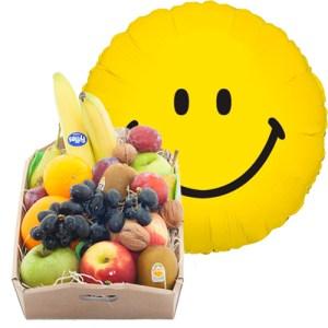 Fruitkistje met een smile heliumballon bestellen of bezorgen online