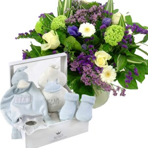 Geboorte cadeau bambam blauw met boeket bestellen of bezorgen online
