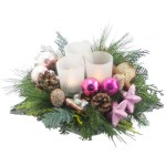 Kerststuk in schaal roze tinten bestellen of bezorgen online