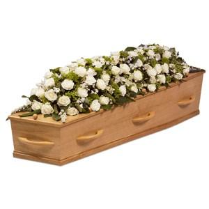 Kistversiering witte rozen bestellen of bezorgen online