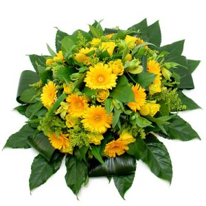Rouwarrangement gele bloemen bestellen of bezorgen online