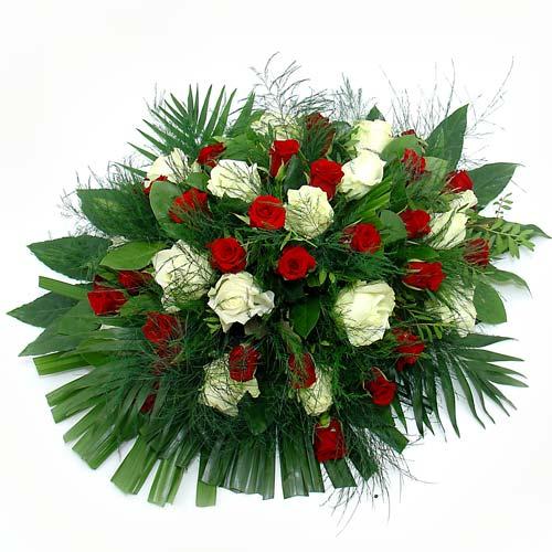 Rouwarrangement rode en witte rozen bestellen of bezorgen online