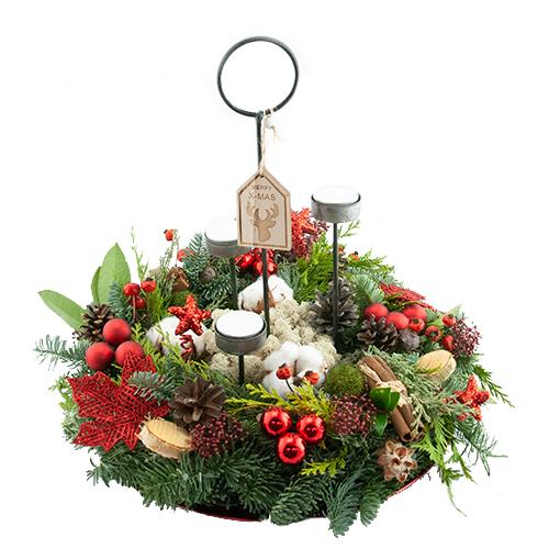 Royaal kerstarrangement rood met waxine lichtjes bestellen of bezorgen online