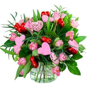 Roze tulpen boeket met verschillende hartjes bestellen of bezorgen online