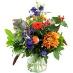 Seizoensboeket oranje lila/paars bestellen of bezorgen online