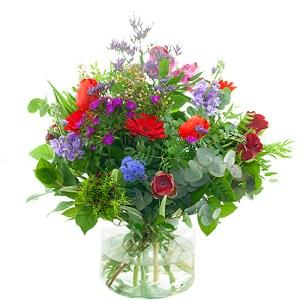 Seizoensboeket rood lila/paars bestellen of bezorgen online