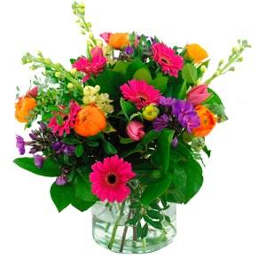 Voorjaarsboeket oranje roze lila bestellen of bezorgen online