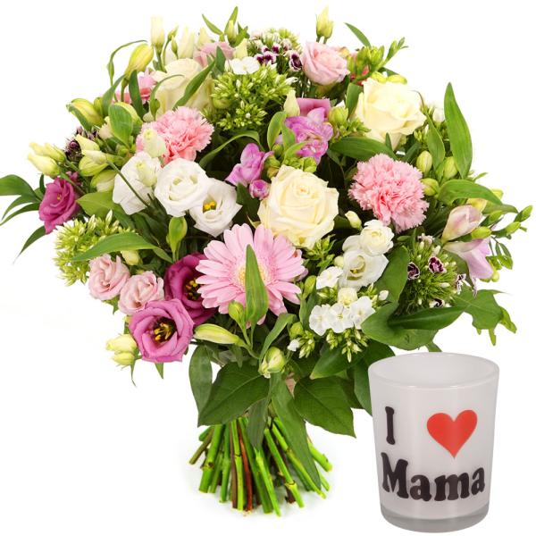 Moederdag boeket wit roze + waxinelichtje I love mama bestellen of bezorgen