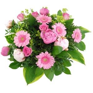 Roze gemengd boeket met pioenrozen bestellen of bezorgen online