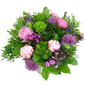 Roze lila gemengd boeket met pioenrozen bestellen of bezorgen online