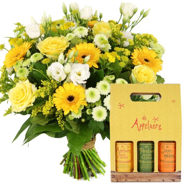Boeket geel wit en sappen Giftbox bestellen of bezorgen