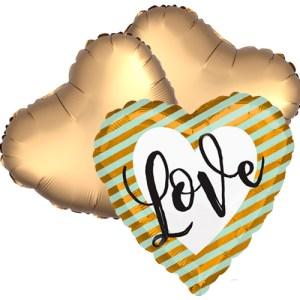 Ballonboeket Love Golden Stripes bestellen of bezorgen online