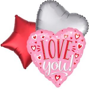 Ballonboeket Love you! pink bestellen of bezorgen online