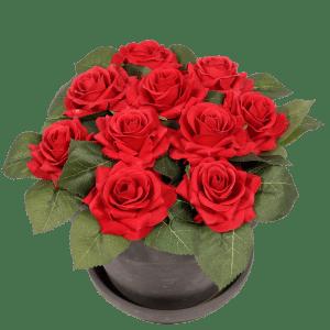 Zijde rode rozen in pot bestellen of bezorgen