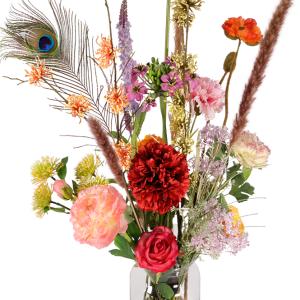 Zijdebloemen boeket in glazen vaas bestellen of bezorgen
