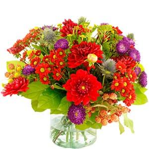 Najaarsboeket in rood-paars tinten bestellen of bezorgen online