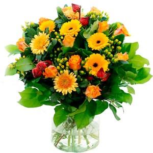 Najaarsboeket met oranje rozen bestellen of bezorgen online
