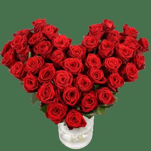 Groot hart met rode rozen bestellen of bezorgen