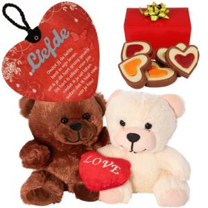 Duo knuffel + hartjes chocolade + hart met gedicht bestellen of bezorgen