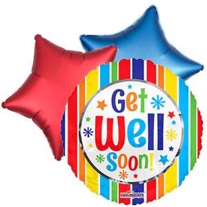 Ballonboeket Get well soon! (stripes) bestellen of bezorgen online