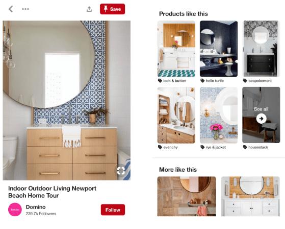 Pinterest shoppable posts screenshot