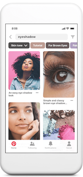 screenshot of Pinterest search for eyeshadow
