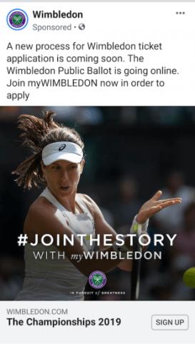 Annuncio di generazione di lead di Facebook di Wimbledon 1