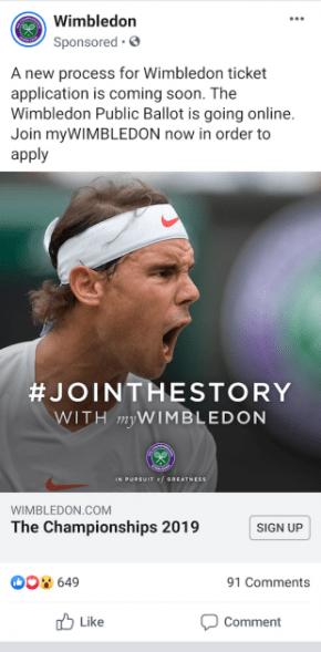 Annuncio 3 di generazione di lead di Facebook di Wimbledon