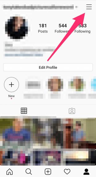 Menú de hamburguesas en la parte superior izquierda del perfil de Instagram